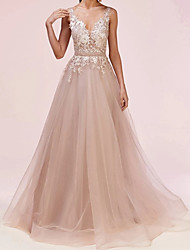 cheap -A-Line Celebrity Style Floral Engagement Formal Evening Dress V Neck Sleeveless Floor Length Tulle with Sash / Ribbon Appliques 2021