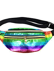 cheap -Men's Bags PU Leather Fanny Pack Zipper Solid Color 2020 Daily White Black Yellow Rainbow
