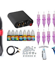 cheap -Superior quality Tattoo pen Machine with Power Supply 10 tattoo needles