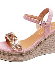 cheap -Women's Sandals Summer Wedge Heel Open Toe Daily PU Pink / Beige