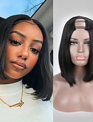 cheap -Remy Human Hair Wig Short Natural Straight Bob U Part Natural Black Fashion For Black Women U Part Brazilian Hair Women's Natural Black #1B 8 inch 10 inch 12 inch