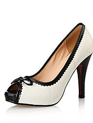 cheap -Women's Heels Pumps Peep Toe Wedding Office & Career Patent Leather White / Black