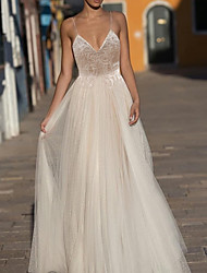 cheap -A-Line Wedding Dresses V Neck Sweep / Brush Train Lace Tulle Polyester Spaghetti Strap Formal Boho Plus Size with Appliques 2020