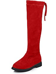 cheap -Girls' Boots Comfort Suede Big Kids(7years +) Black / Red / Brown Spring / Knee High Boots