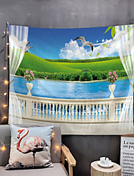cheap -Window Landscape Wall Tapestry Art Decor Blanket Curtain Picnic Tablecloth Hanging Home Bedroom Living Room Dorm Decoration Polyester Garden Flower Lake Rural Animal