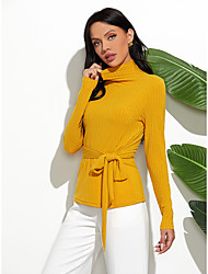 cheap -Women's Casual / Daily Lace up Solid Colored Pullover Long Sleeve Sweater Cardigans Turtleneck Fall Winter Black Yellow Green