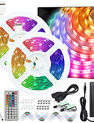 cheap -50ft 2x7.5M No-waterproof 5050 RGB Full color LED Strip Lights with 44-Key IR Double Outlet Remote and Adapter Light Strip Kit DC12V
