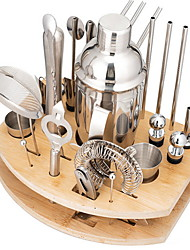 cheap -Bartender Kit 27pcs Cocktail Shaker Mixer Stainless Steel 550ml/750ml Bar Tool Set with Stylish Bamboo Stand Perfect Home Bartending Kit and Martini Cocktail Shaker Set