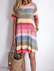 cheap -Women's T Shirt Dress Tee Dress Short Mini Dress Short Sleeve Striped Summer Casual 2021 Blue Purple S M L XL