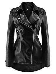 cheap -Women's Shirt Collar Faux Leather Jacket Long Solid Colored Work Black S M L XL