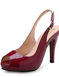 cheap -Women's Sandals Spring / Fall Pumps Peep Toe Wedding Party & Evening Patent Leather Wine / Almond / Black