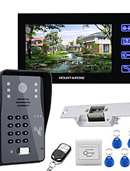 cheap -7 Lcd Video Door Phone Intercom System RFID Door Access Control Kit Outdoor Camera Electric Strike LockWireless Remote Control