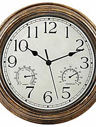 cheap -12-inch indoor/outdoor waterproof wall clock with thermometer and hygrometer combo,vintage silent non-ticking battery operated clock wall decorative- bronze