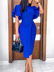 cheap -Women's Shift Dress Knee Length Dress - Short Sleeve Solid Color Fall Work Hot 2020 Blue Purple Wine Green S M L XL XXL 3XL