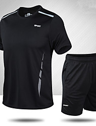 cheap -Unisex Tracksuit Jogging Suit 1 set Breathable Quick Dry Soft Gym Workout Running Active Training Walking Fitness Sportswear Stripes Running T-Shirt With Pants Sweatshirt and Pants Athletic Clothing