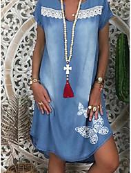 Χαμηλού Κόστους -Γυναικεία Φορέματα τζιν Μίνι φόρεμα - Κοντομάνικο Ζώο Καλοκαίρι Καθημερινό Καθημερινά 2020 Θαλασσί M L XL XXL XXXL