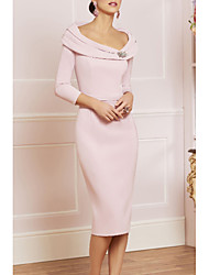 cheap -Sheath / Column Mother of the Bride Dress Elegant Vintage Plus Size Scoop Neck Knee Length Jersey 3/4 Length Sleeve with Beading Crystal Brooch 2020 Mother of the groom dresses