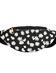 cheap -Women's Zipper PU Leather Fanny Pack 2020 Floral Print Black / Purple / Blushing Pink