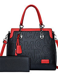 cheap -Women's Bags PU Leather Bag Set 2 Pieces Purse Set Tassel Zipper Date Outdoor Bag Sets Handbags Black Blue Red
