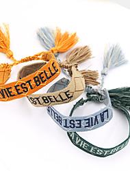 cheap -Women's Bracelet Loom Bracelet Pendant Bracelet Chunky Alphabet Shape Birthday Weave Tassel Punk Trendy Fashion Colorful Lace Bracelet Jewelry Blue / Orange / khaki For Anniversary Gift Date Birthday