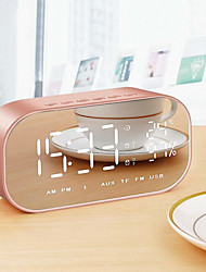 cheap -LED Alarm Clock with FM Radio Wireless Bluetooth Speaker Mirror Display Support Aux TF USB Music Player Wireless for Office Home