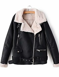 cheap -Women's Winter Leather Jacket Daily Basic Regular Color Block Black / Red / Beige S / M / L