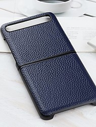 cheap -Case For Samsung Galaxy Z Flip Ultra-thin Back Cover Solid Colored  Litchi Genuine Leather / TPU Case For Samsung Galaxy Z Flip