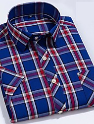 billige -Herre Ternet Blå Skjorte Basale Hawaiiansk Daglig Weekend Blå / Navyblå