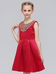 cheap -Toddler Girls' Sweet Sophisticated Solid Colored Pleated Sleeveless Above Knee Dress Red