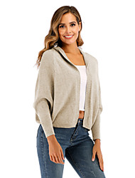 cheap -Women's Casual / Daily Knitted Solid Colored Cardigan Long Sleeve Sweater Cardigans Hooded Fall Winter Black Khaki Beige