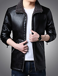 cheap -Men's Faux Leather Jacket Regular Solid Colored Daily Streetwear Long Sleeve Black Wine Khaki US32 / UK32 / EU40 US34 / UK34 / EU42 US36 / UK36 / EU44 US38 / UK38 / EU46 / Work