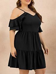 cheap -Women's A-Line Dress Knee Length Dress - Half Sleeve Solid Color Summer Work 2020 Black XL XXL XXXL XXXXL