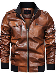 cheap -Men's Faux Leather Jacket Regular Solid Colored Daily Military Long Sleeve Black Army Green Fuchsia Brown US32 / UK32 / EU40 US34 / UK34 / EU42 US36 / UK36 / EU44 US38 / UK38 / EU46 / Sports