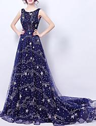 זול -גזרת A יוקרתי מדבקות עם נצנצים ארוסים ערב רישמי שמלה עם תכשיטים ללא שרוולים שובל קורט טול עם נצנצים 2020
