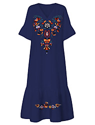 cheap -Women's Plus Size A-Line Dress Maxi long Dress - Short Sleeve Tribal Print Summer V Neck Boho Holiday Vacation Beach Loose 2020 White Navy Blue M L XL XXL XXXL XXXXL XXXXXL