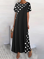 cheap -Women's Shift Dress Maxi long Dress Black Short Sleeve Polka Dot Summer Round Neck Hot Casual 2021 M L XL XXL 3XL