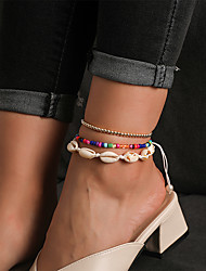 cheap -Leg Chain Classic Rustic Trendy Women's Body Jewelry For Gift Holiday Beaded Shell Alloy Lucky White 3pcs