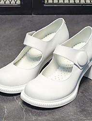 cheap -Women's Heels / Lolita Shoes Spring / Summer Block Heel Round Toe Classic Vintage Daily PU White / Black / 2-3