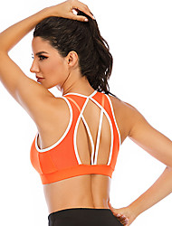 cheap -Women's Sports Bra High Support Removable Pad Wireless Fashion Orange Spandex Yoga Fitness Running Top Sport Activewear Breathable High Impact Moisture Wicking Comfortable Freedom Stretchy