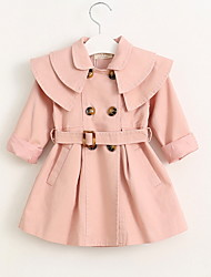 cheap -Kids Girls' Trench Coat Solid Colored Red Blushing Pink Khaki Basic