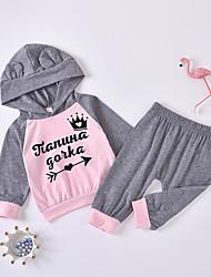 cheap -Baby Girls' Basic Chinoiserie Patchwork Print Long Sleeve Regular Regular Clothing Set Gray