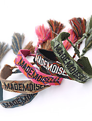 cheap -Women's Bracelet Loom Bracelet Pendant Bracelet Braided Alphabet Shape Weave Unique Design Tassel Baroque Ethnic Gypsy Lace Bracelet Jewelry Black / Blue / Red For Sport Gift Formal Date Festival
