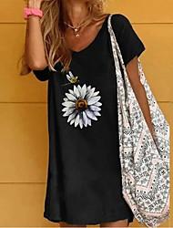 cheap -Women's T Shirt Dress Tee Dress Short Mini Dress Black Short Sleeve Print Summer V Neck Hot Casual 2021 S M L XL XXL 3XL