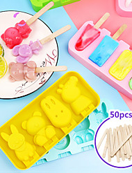 cheap -2PCS /3 PCS Ice Cream Ice Pops Mold Random Color Portable Food Grade Popsicle Mould Cartoon Pig Superman Foot DIY Food Supplement Tools   Full Body Silicone