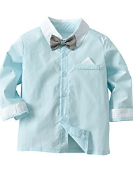 cheap -Baby Boys' Basic Street chic Solid Colored Long Sleeve Blouse Light Green