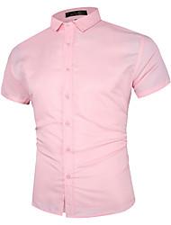 billige -Herre Ensfarvet Skjorte Forretning Basale Daglig Vin / Hvid / Sort / Rød / Marineblå / Lyseblå