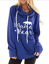 cheap -Women's Hoodie Letter Casual Hoodies Sweatshirts  Cotton Loose Black Blue Purple