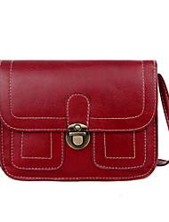 رخيصةأون -نسائي جلد PU حقيبة كروس حقيبة جلدية لون الصلبة خمر / أبيض / أسود / خريف & شتاء