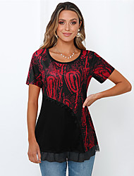 cheap -Women's Blouse Shirt Abstract Round Neck Tops Loose Basic Top Red