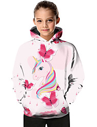 cheap -Kids Toddler Girls' Active Basic Fantastic Beasts Unicorn Geometric Color Block Animal Print Long Sleeve Hoodie & Sweatshirt Blushing Pink